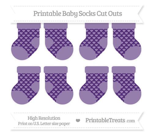 Free Royal Purple Heart Pattern Small Baby Socks Cut Outs