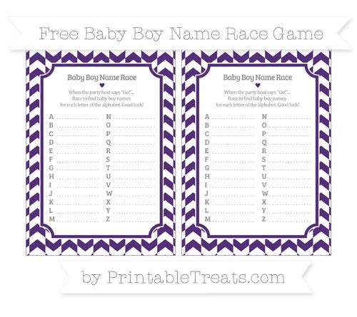 Free Royal Purple Herringbone Pattern Baby Boy Name Race Game