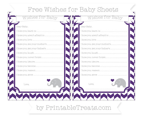 Free Royal Purple Herringbone Pattern Baby Elephant Wishes for Baby Sheets