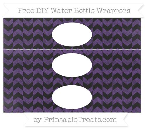 Free Royal Purple Herringbone Pattern Chalk Style DIY Water Bottle Wrappers