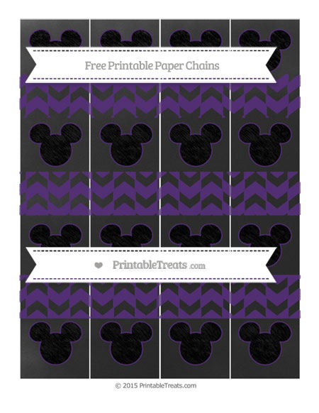 Free Royal Purple Herringbone Pattern Chalk Style Mickey Mouse Paper Chains