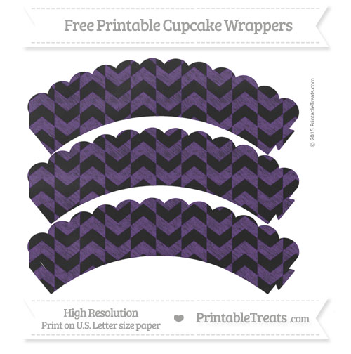 Free Royal Purple Herringbone Pattern Chalk Style Scalloped Cupcake Wrappers