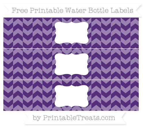 Free Royal Purple Herringbone Pattern Water Bottle Labels