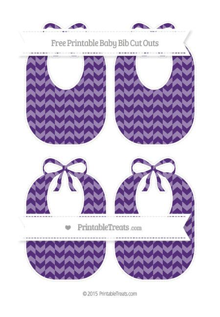 Free Royal Purple Herringbone Pattern Medium Baby Bib Cut Outs