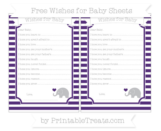 Free Royal Purple Horizontal Striped Baby Elephant Wishes for Baby Sheets