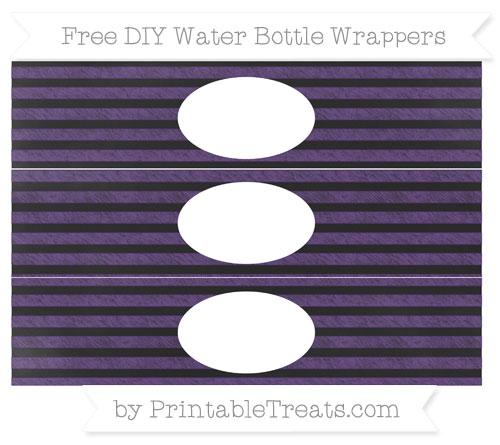 Free Royal Purple Horizontal Striped Chalk Style DIY Water Bottle Wrappers