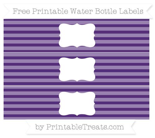 Free Royal Purple Horizontal Striped Water Bottle Labels