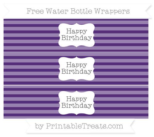 Free Royal Purple Horizontal Striped Happy Birhtday Water Bottle Wrappers
