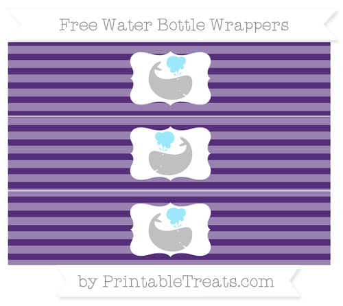 Free Royal Purple Horizontal Striped Whale Water Bottle Wrappers