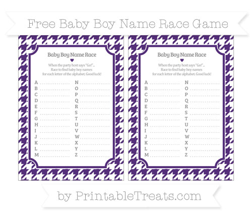 Free Royal Purple Houndstooth Pattern Baby Boy Name Race Game