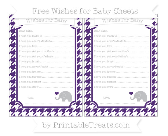 Free Royal Purple Houndstooth Pattern Baby Elephant Wishes for Baby Sheets
