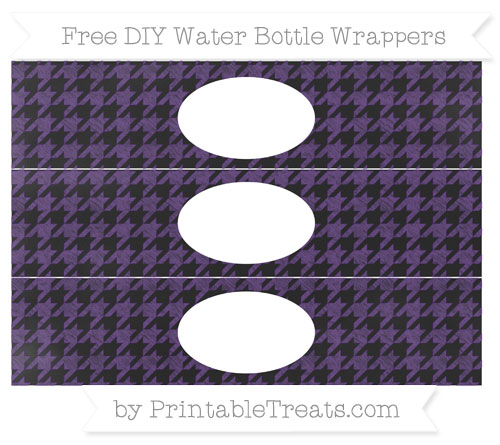 Free Royal Purple Houndstooth Pattern Chalk Style DIY Water Bottle Wrappers