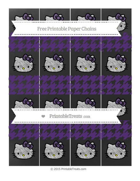 Free Royal Purple Houndstooth Pattern Chalk Style Hello Kitty Paper Chains