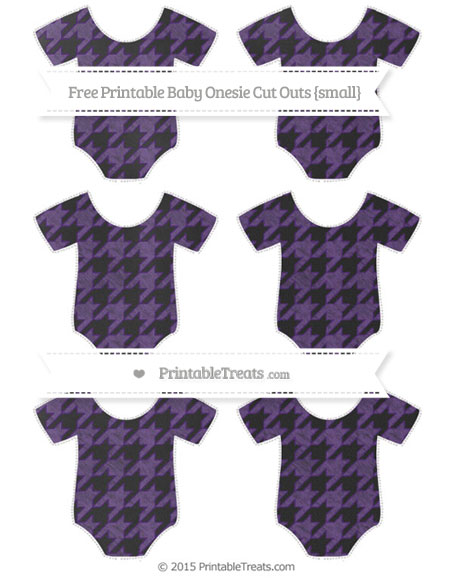 Free Royal Purple Houndstooth Pattern Chalk Style Small Baby Onesie Cut Outs