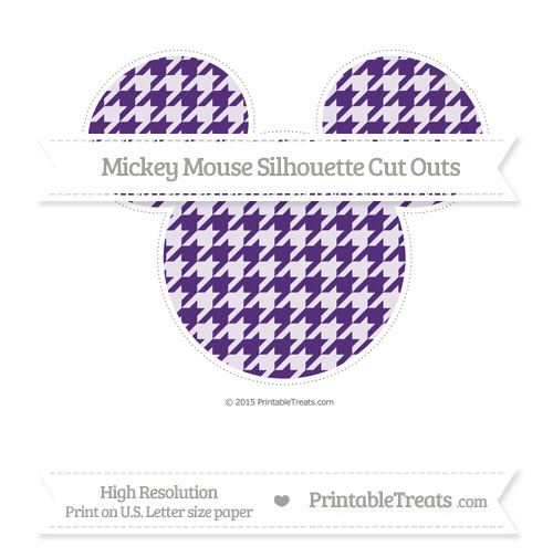 Free Royal Purple Houndstooth Pattern Extra Large Mickey Mouse Silhouette Cut Outs