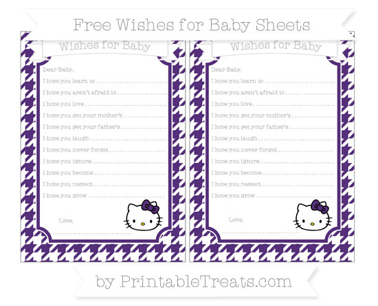 Free Royal Purple Houndstooth Pattern Hello Kitty Wishes for Baby Sheets