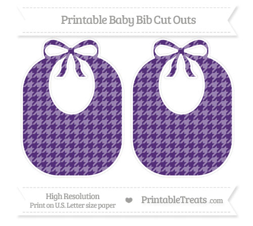 Free Royal Purple Houndstooth Pattern Large Baby Bib Cut Outs
