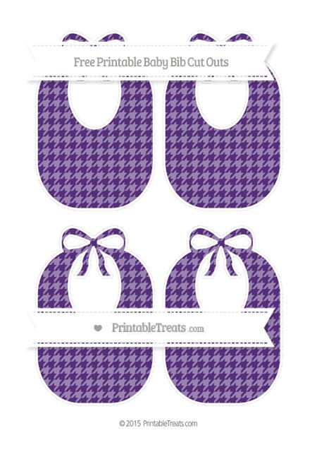 Free Royal Purple Houndstooth Pattern Medium Baby Bib Cut Outs