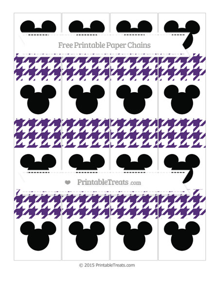 Free Royal Purple Houndstooth Pattern Mickey Mouse Paper Chains