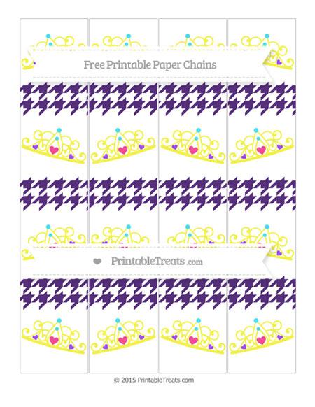 Free Royal Purple Houndstooth Pattern Princess Tiara Paper Chains