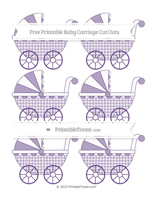 Free Royal Purple Houndstooth Pattern Small Baby Carriage Cut Outs