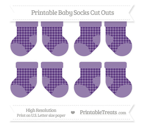 Free Royal Purple Houndstooth Pattern Small Baby Socks Cut Outs