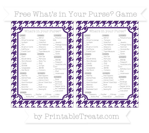 Free Royal Purple Houndstooth Pattern What's in Your Purse Baby Shower Game