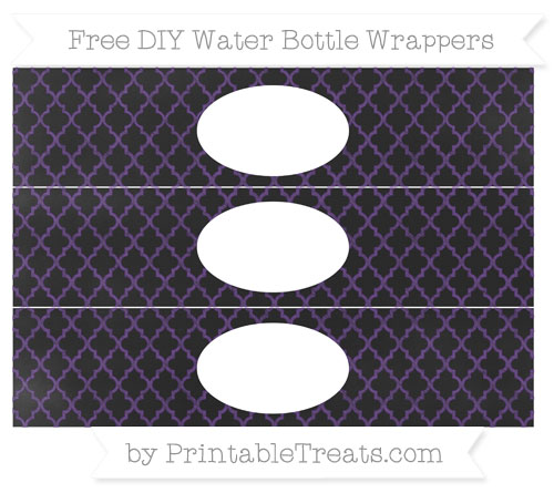 Free Royal Purple Moroccan Tile Chalk Style DIY Water Bottle Wrappers
