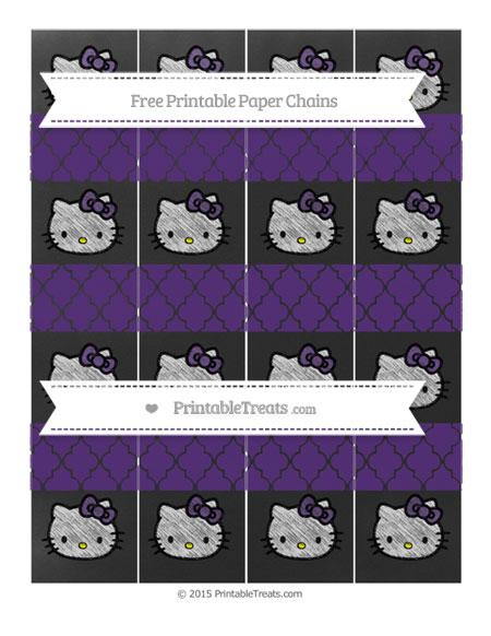 Free Royal Purple Moroccan Tile Chalk Style Hello Kitty Paper Chains