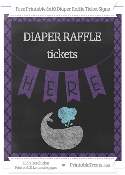 Free Royal Purple Moroccan Tile Chalk Style Whale 8x10 Diaper Raffle Ticket Sign
