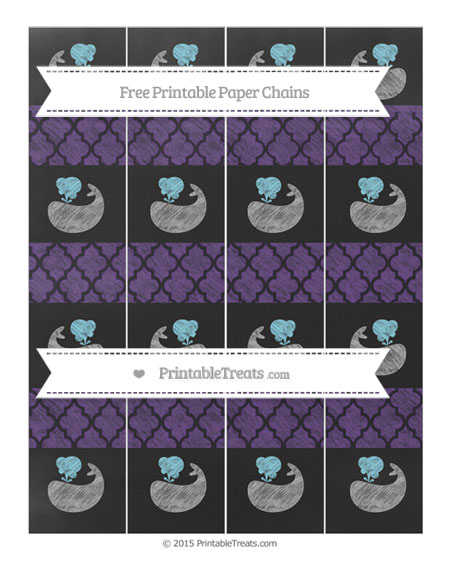 Free Royal Purple Moroccan Tile Chalk Style Whale Paper Chains