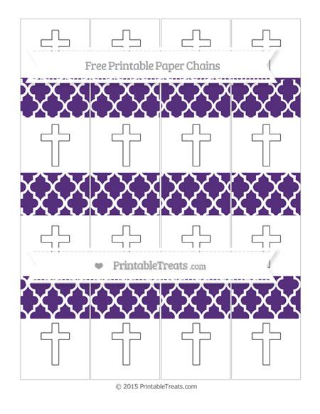Free Royal Purple Moroccan Tile Cross Paper Chains