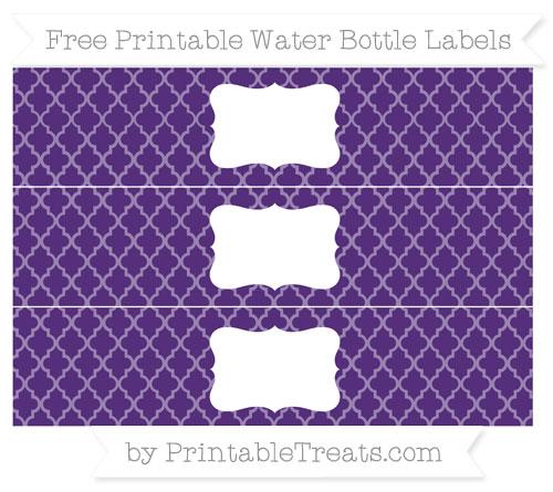 Free Royal Purple Moroccan Tile Water Bottle Labels
