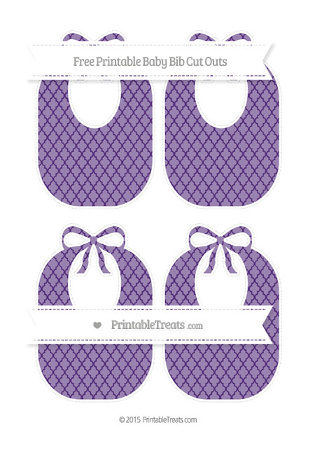 Free Royal Purple Moroccan Tile Medium Baby Bib Cut Outs