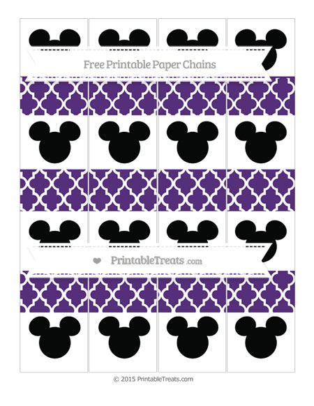 Free Royal Purple Moroccan Tile Mickey Mouse Paper Chains