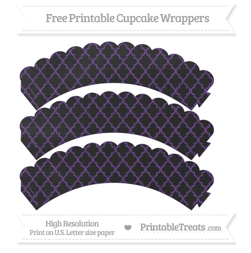 Free Royal Purple Moroccan Tile Pattern Chalk Style Scalloped Cupcake Wrappers