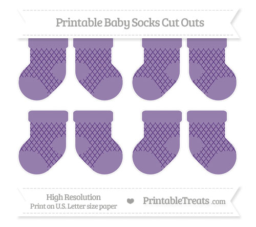 Free Royal Purple Moroccan Tile Small Baby Socks Cut Outs