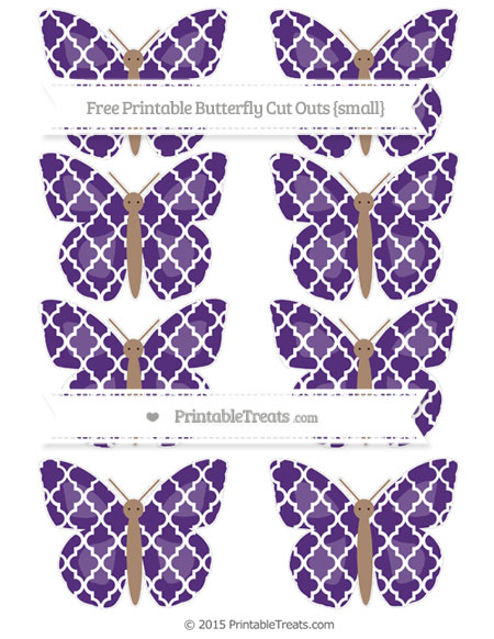 Free Royal Purple Moroccan Tile Small Butterfly Cut Outs