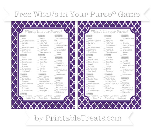 Free Royal Purple Moroccan Tile What's in Your Purse Baby Shower Game
