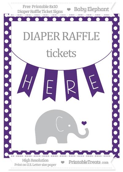 Free Royal Purple Polka Dot Baby Elephant 8x10 Diaper Raffle Ticket Sign
