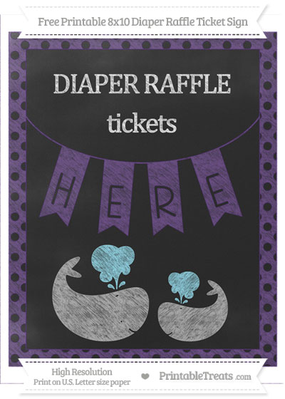 Free Royal Purple Polka Dot Chalk Style Baby Whale 8x10 Diaper Raffle Ticket Sign
