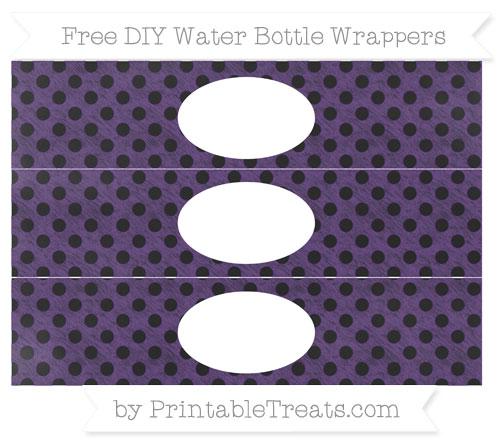 Free Royal Purple Polka Dot Chalk Style DIY Water Bottle Wrappers