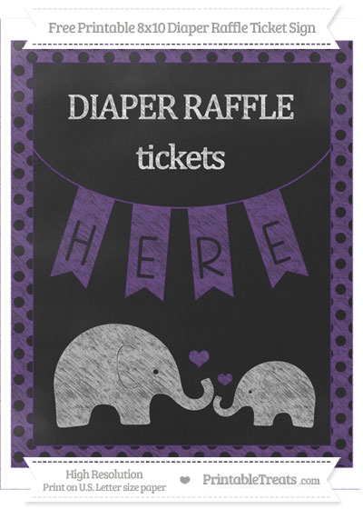 Free Royal Purple Polka Dot Chalk Style Elephant 8x10 Diaper Raffle Ticket Sign