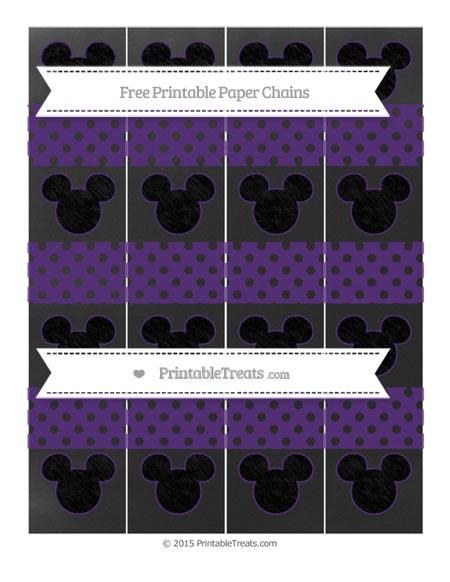 Free Royal Purple Polka Dot Chalk Style Mickey Mouse Paper Chains
