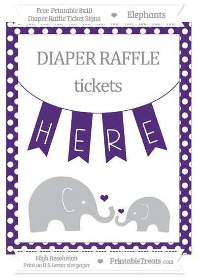 Free Royal Purple Polka Dot Elephant 8x10 Diaper Raffle Ticket Sign