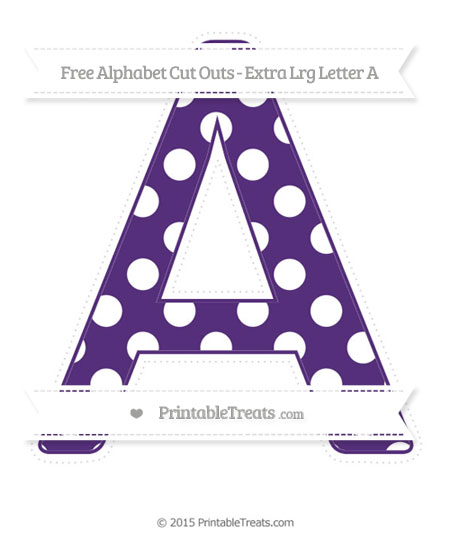 Free Royal Purple Polka Dot Extra Large Capital Letter A Cut Outs