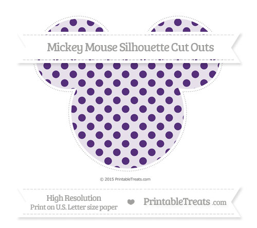 Free Royal Purple Polka Dot Extra Large Mickey Mouse Silhouette Cut Outs