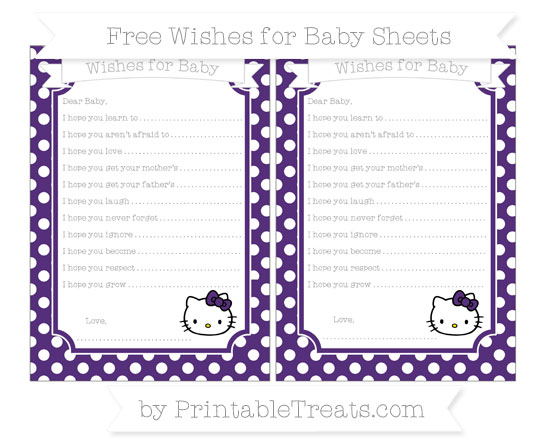 Free Royal Purple Polka Dot Hello Kitty Wishes for Baby Sheets