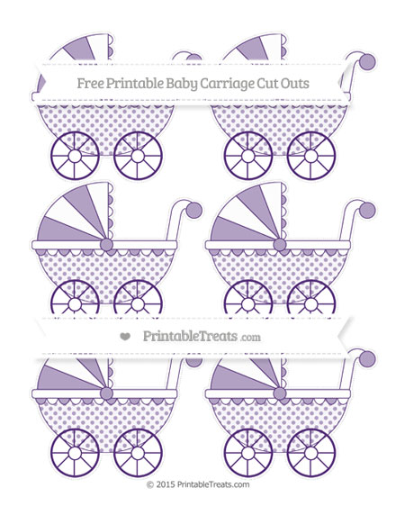 Free Royal Purple Polka Dot Small Baby Carriage Cut Outs