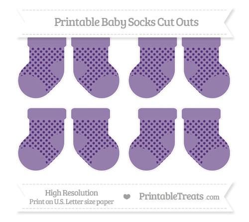 Free Royal Purple Polka Dot Small Baby Socks Cut Outs